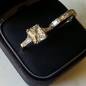 14k White Gold Radiant Baguette diamond ring set
